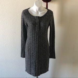 Full Tilt Black/White Heathered Sweater Dress